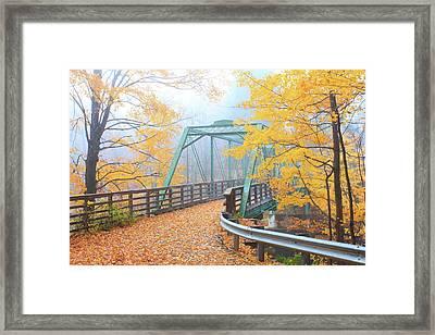 Iron Bridge In Autumn Framed Print by John Burk