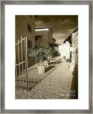 Iron Gate At Collelungo Framed Print by Linda Ryan