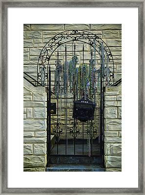 Iron Gate With Colorful Beads Framed Print