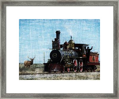 Iron Horse Invades The Plains Framed Print by Lianne Schneider