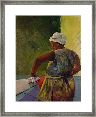 Ironing Lady Framed Print