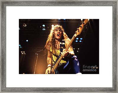 Iron Maiden 1987 Steve Harris Framed Print by Chris Walter