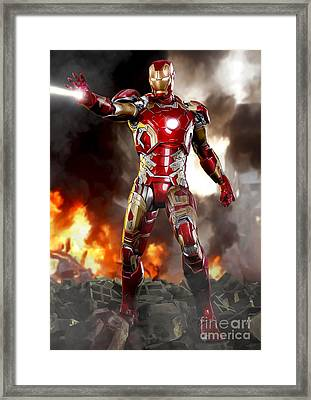Iron Man - No Battle Damage Framed Print by Paul Tagliamonte