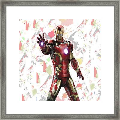 Framed Print featuring the mixed media Iron Man Splash Super Hero Series by Movie Poster Prints