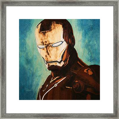 Iron Man Unique Handmade Marquetry Portrait Framed Print