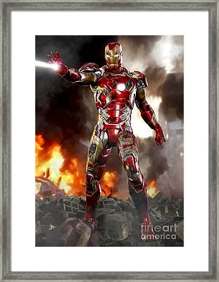 Iron Man With Battle Damage Framed Print
