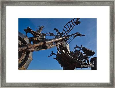 Iron Motorcycle Sculpture In Faro Framed Print by Angelo DeVal