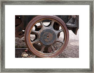 Framed Print featuring the photograph Iron Train Wheel by Aidan Moran