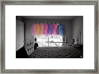 Ironing Adds Color To A Room Framed Print