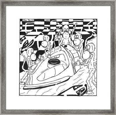 Ironing Monkeys Maze Cartoon Framed Print by Yonatan Frimer Maze Artist