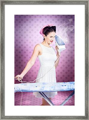 Ironing Pinup Housewife Doing Sixties Housework Framed Print by Jorgo Photography - Wall Art Gallery