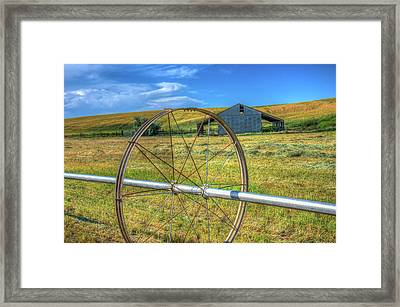 Irrigation Water Wheel Hdr Framed Print by James Hammond