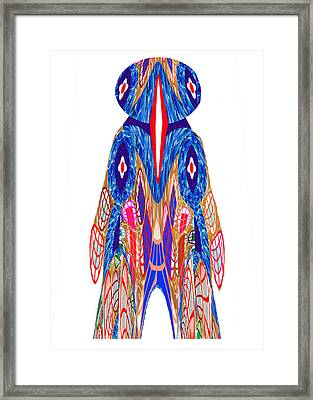 Is That A Head Or A Hat ??  Alien Fineart Graphic Whimsical Rohrshoc Abstract By Navinjoshi Framed Print