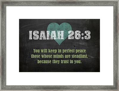 Isaiah 26 3 Inspirational Quote Bible Verses On Chalkboard Art Framed Print