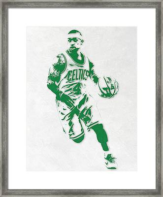 Isaiah Thomas Boston Celtics Pixel Art 2 Framed Print by Joe Hamilton