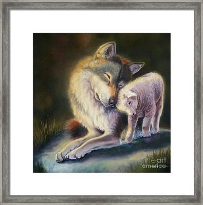 Isaiah Wolf And Lamb Framed Print
