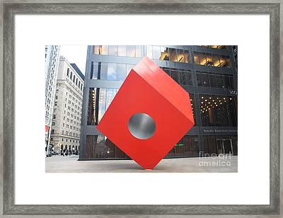 Isamu Noguchi Red Cube In Nyc Framed Print by John Telfer