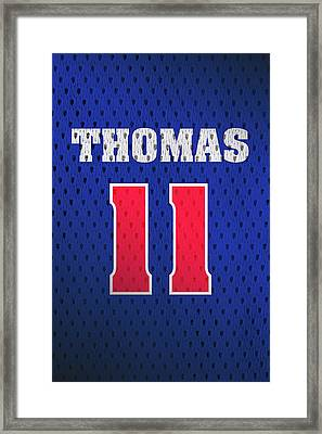 Isiah Thomas Detroit Pistons Number 11 Retro Vintage Jersey Closeup Graphic Design Framed Print