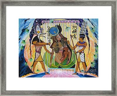 Blaa Kattproduksjoner     Presents Isis Giving Birth To Horus Framed Print
