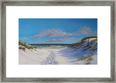 Island Beach Dune Walk Framed Print by Ken Ahlering