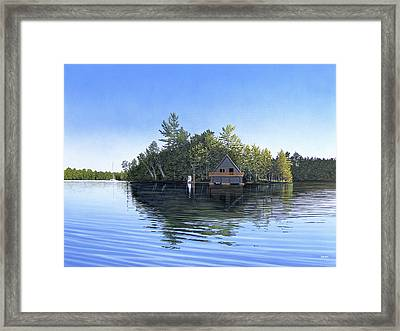 Framed Print featuring the painting Island Boathouse Muskoka  by Kenneth M Kirsch