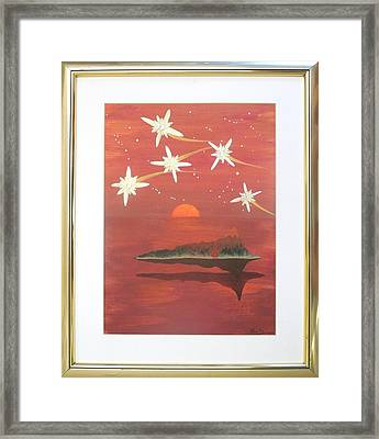 Framed Print featuring the painting Island In The Sky With Diamonds by Ron Davidson