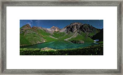 Island Lake Nightscape Panorama Framed Print