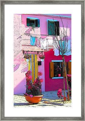 Island Of Burano Houses - The Washing Line Framed Print