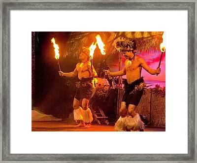 Island Of Fire Dancers Framed Print by Julie Grace