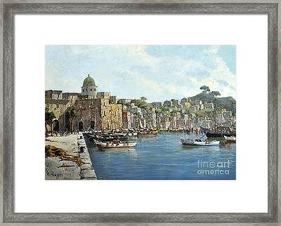 Island Of Procida - Italy- Harbor With Boats Framed Print