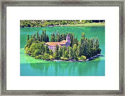 Island Of Visovac Monastery In Krka  Framed Print
