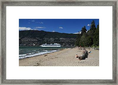 Island Princess Cruise Ship From Third Beach Stanley Park Vancouver B.c  Canada Framed Print by Pierre Leclerc Photography