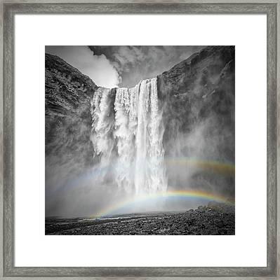 Iceland Skogafoss - Double Rainbow Framed Print