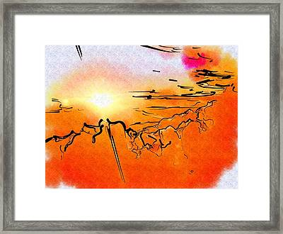 Island Sunset Framed Print by Mitchell Gibson
