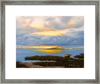 Framed Print featuring the painting Island Sunset by Rick McKinney
