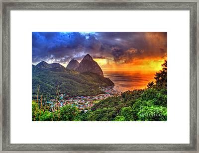 Island Sunset Rain Framed Print