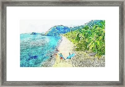 Island Surfers Framed Print