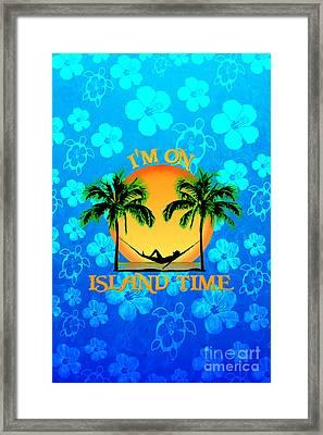 Island Time Blue Flowers Framed Print