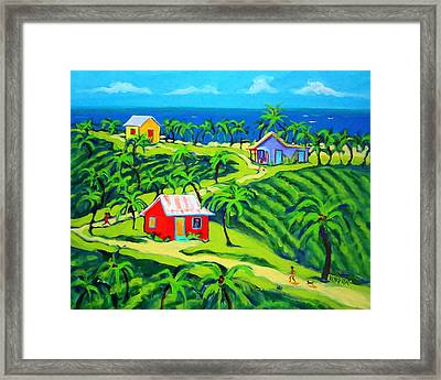 Island Time - Colorful Houses Caribbean Cottages Framed Print