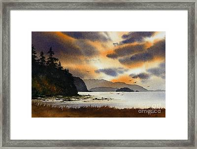 Framed Print featuring the painting Islands Autumn Sky by James Williamson