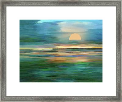Islands In The Sunset Abstract Realism Framed Print
