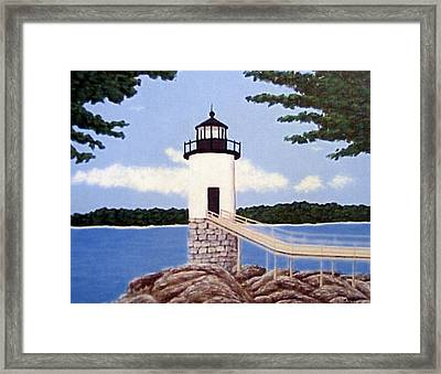 Framed Print featuring the painting Isle Au Haut Lighthouse by Frederic Kohli