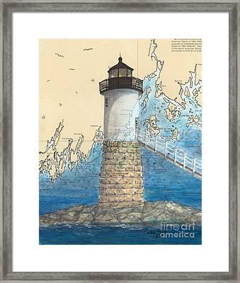 Isle Au Haut Lighthouse Me Nautical Map  Framed Print by Cathy Peek
