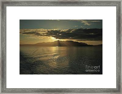 Isle Of Arran At Sunset Framed Print by Maria Gaellman