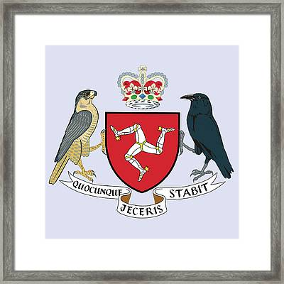 Framed Print featuring the drawing Isle Of Man Coat Of Arms by Movie Poster Prints