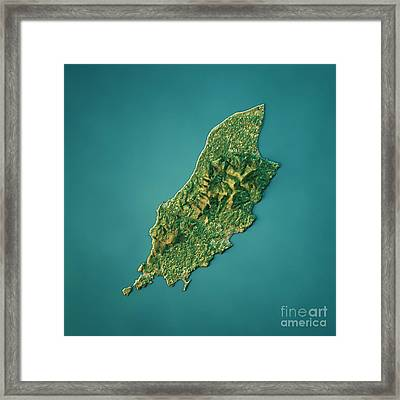 Isle Of Man Topographic Map Natural Color Top View Framed Print by Frank Ramspott