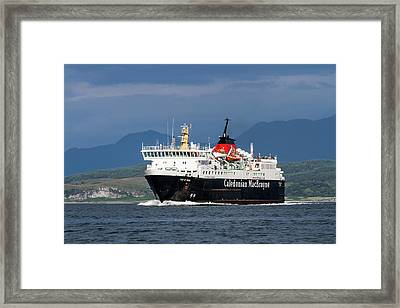 Isle Of Mull Ferry Crosses The Firth Of Lorne Framed Print