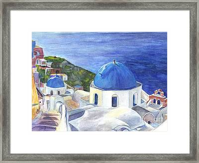 Isle Of Santorini Thiara  In Greece Framed Print by Carol Wisniewski