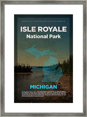 Isle Royale National Park In Michigan Travel Poster Series Of National Parks Number 32 Framed Print by Design Turnpike