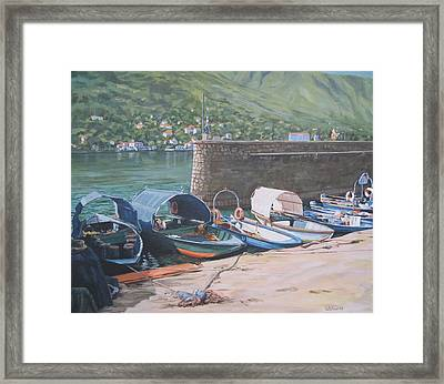 Isola Pescatori Fishing Boats Framed Print by Connie Schaertl